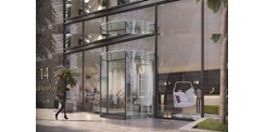 ASSA ABLOY RD300 all-glass revolving door Hotel entrance